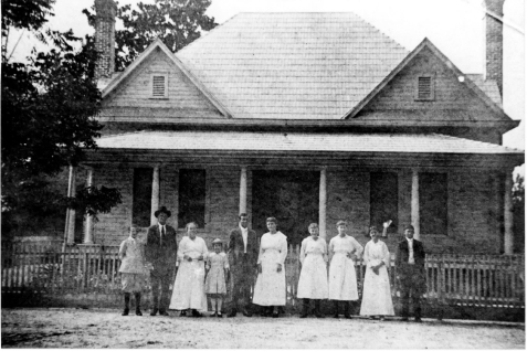 Left to Right: John C. Crum, Thomas Jackson Crum, Annie Boyette Crum, Lillie Crum, Benjamin Hill Crum, Nancy Della Knight Crum, Mae Crum, Mary Crum, Delilah Boyette Gaskins, and Lester Gaskins.