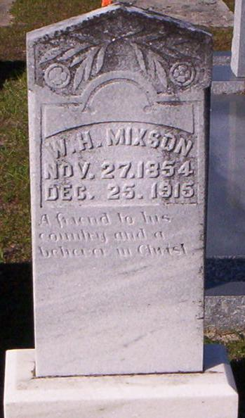 Grave marker of William Henry Mixon, Beaver Dam Cemetery, Ray City, GA.