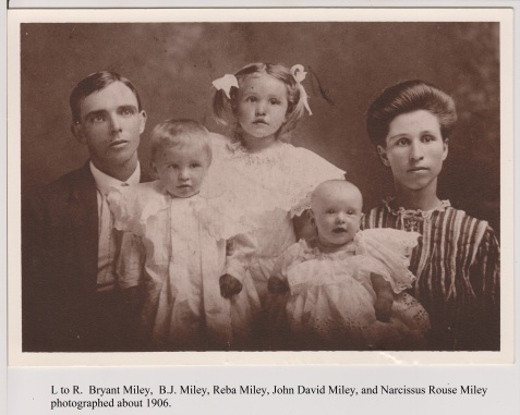 "Family of John David Miley, Hahira, GA. Circa 1906. Left to Right: Bryant Luther Miley, Berry James ""B.J."" Miley, Reba Miley, John David Miley, Narcissus Rouse Miley."