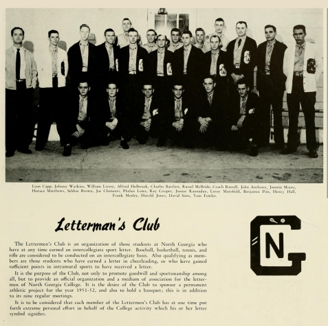 Joe D. Clements with the 1951 Letterman's Club, North Georgia College.