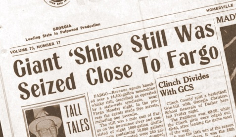 Clinch County News reports giant moonshine still busted, January 29, 1967.