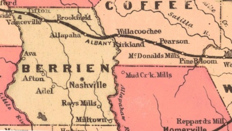 Detail of Augustus S. Mitchell's 1883 County Map of the States of Georgia and Alabama, showing location of Vanceville, Alapaha, and Rays Mill, GA. The mapped location of Pine Bloom is in error - the actual location of Pine Bloom was about two miles east of Willacoochee. [Special thanks to Bryan Shaw for this explanation - see comment below.]