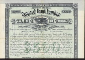 1883 Stock certificate of the Reppard Land, Lumber & Sawmill Company of Georgia. R. B. Reppard provided financial backing for the sawmill operated by John and Ben Furlong at Vanceville, GA.