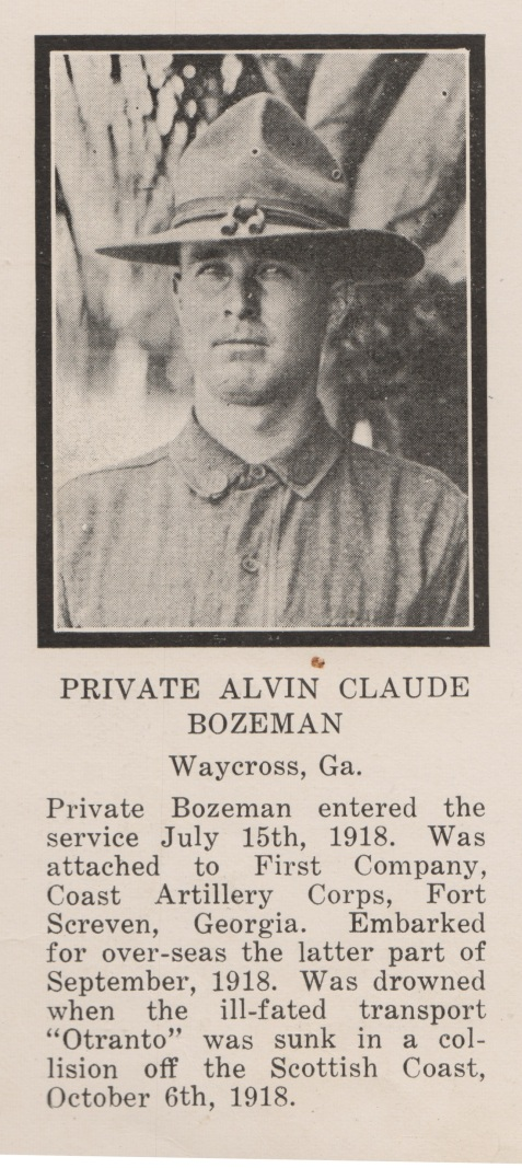 Alvin Claude Bozeman, 1918, died in the sinking of the Otranto.