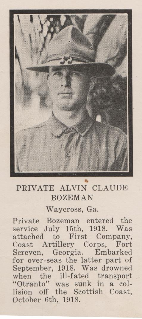 Alvin Claude Bozeman, 1918, died in the sinking of the Otranto.