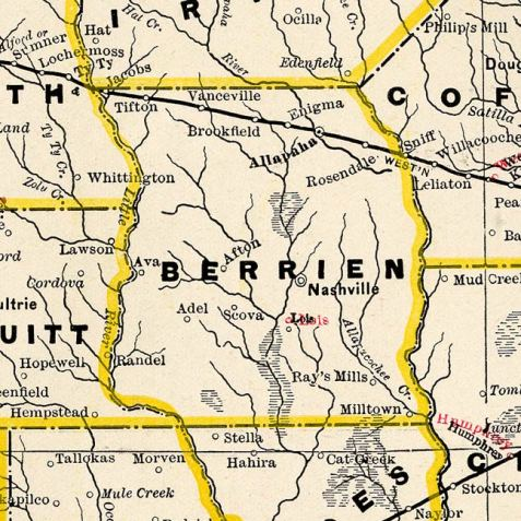 Detail from an 1895 railroad map, shows the location, from East to West on the line of the Brunswick & Western Railroad, of Sniff, Alapaha, Enigma, Vanceville, and Sumner,GA.