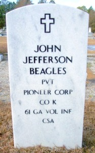 John Jefferson Beagles, Beaver Dam Cemetery, Ray City, GA.