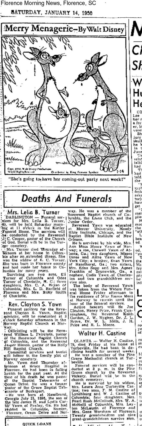 Obituary of Clayton Samuel Yawn, 1950, Florence, SC.