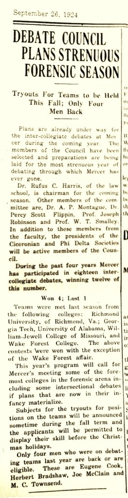 1924 clipping from the Mercer Cluster. Debate Council plans strenuous forensic season.