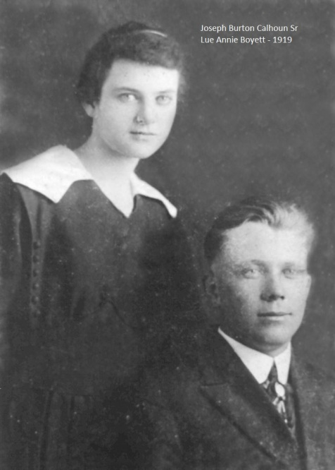 Luannie Boyette & Joseph Burton Calhoun of Ray City, GA, 1919. Image courtesy of I. Mitcchell Calhoun.