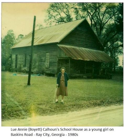 Lueannie Boyett Calhoun photographed circa 1980 in front of the school she attended as a young girl.