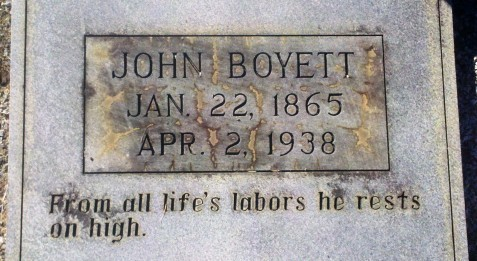 Gravemarker of John Boyett, Beaver Dam Cemetery, Ray City, GA.