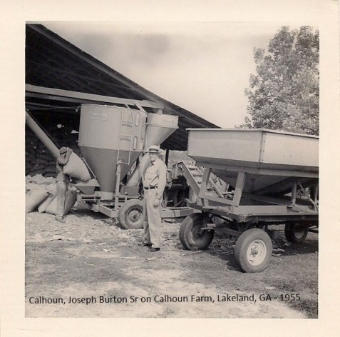 Joseph Burton Calhoun at work on the farm, circa 1955. (Image courtesy of I. Mitchell Calhoun.A