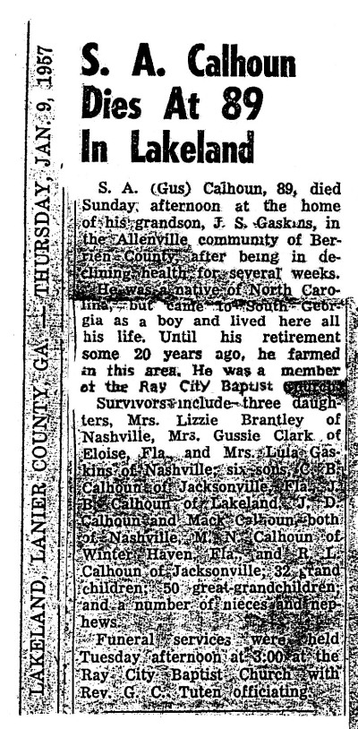 Obituary of Samuel Augustus Calhoun (1868-1957) of Berrien County, GA.  Image courtesy of I. Mitchell Calhoun.