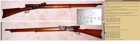 Swiss .41 WAFFENFABRIK-BERN-M78, serial # 187500. This rifle, pictured above, was acquired by Joseph Burton Calhoun during his service in WWI. The gun was manufactured circa 1885, one of a total of 228,000 ordered by the Swiss government. At the time of introduction, this rifle was one of the most advanced military rifles in Europe, but by WWI it was completely out-dated. (Image and information courtesy of Mitchell Calhoun)
