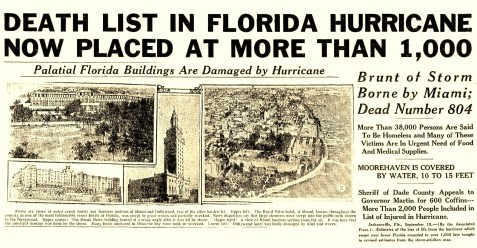 The Atlanta Constitution headline tolled the death and decimation of the 1926 hurricane.