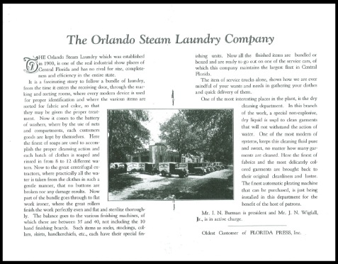 1929 sketch of the Orlando Steam Laundry company, Orlando, FL.