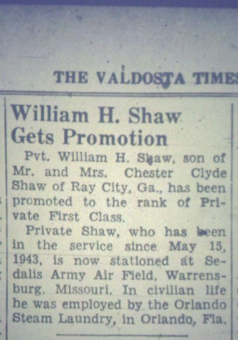 William H. Shaw Gets Promotion