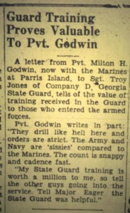 Milton H. Godwin, of Ray City, GA joined the Marines before his 18th birthday in 1944.