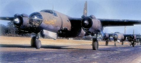 B-26 of the 322d Medium Bomb Group at RAF Andrews Field, on the perimeter track prior to takeoff - Spring 1944. (World War II)