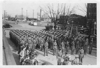 Gordon Military Institute cadets on parade in 1941.