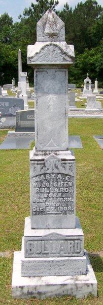 Grave marker of Mary Ann Elizabeth Knight Bullard, Beaver Dam Cemetery, Ray City, GA.