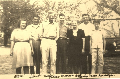 Langford Family. (L to R) Lillian Alene Langford, Leland Langford, Luther Etheldred Langford, Merice Langford, Amanda Asbell Langford, Vasco Langford, Rudolph Langford.
