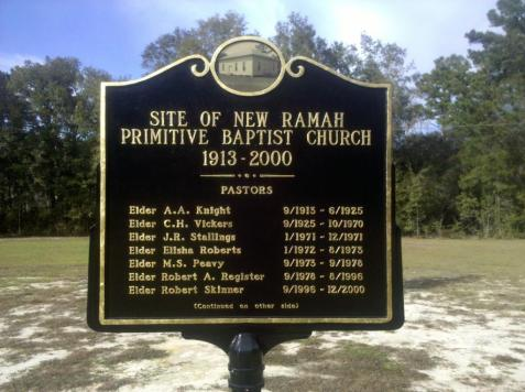 Historical Marker - New Ramah Primitive Baptist Church, Ray City, GA.