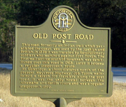 Old Post Road Historic Marker, Glynn County, GA