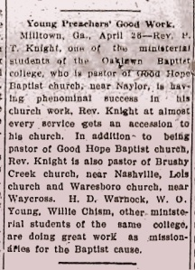 While a ministerial student at Oaklawn Baptist Academy in 1909, Perry Thomas Knight was already a popular preacher.