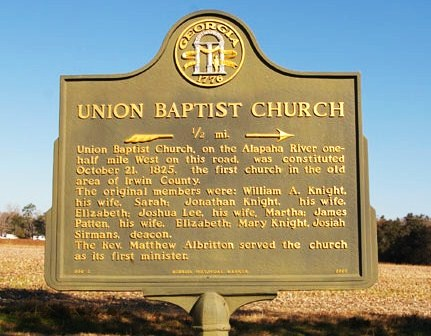Historic Marker - Union Church, organized 1825. Sarah and William A. Knight were founding members.
