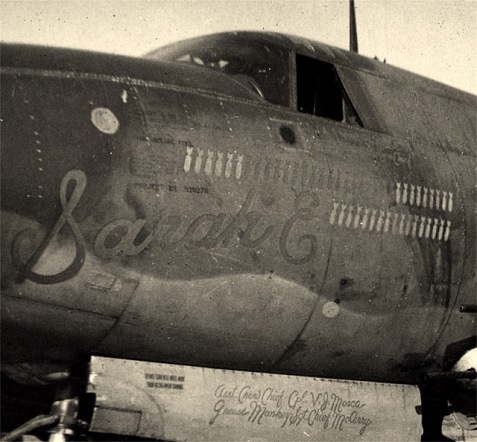 "The ""Sarah E"" B-26 Marauder, flown by James A. Swindle during WWII. Image Source: Vincent Mosca http://www.b26.com/marauderman/vincent_j_mosca.htm"