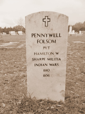 Grave marker of Pennywell Folsom, Roundtree cemetery (aka Evergreen Cemetery), Cook County, GA