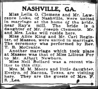 Wedding announcement of Leila O. Clements and Lawrence Luke appeared in the Atlanta Constitution, January 12, 1913.