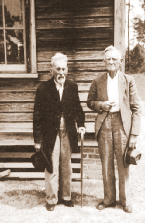 William Green Avera (1855-1944) and Benjamin Gaskins (left) photographed at Irene Church, Lanier County, GA.  Image courtesy of www.berriencountyga.com