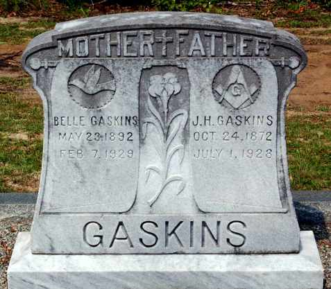 Grave of James Henry Gaskins and Charity Maybelle Gaskins, Fisher Gaskins Cemetery, Berrien County, GA.
