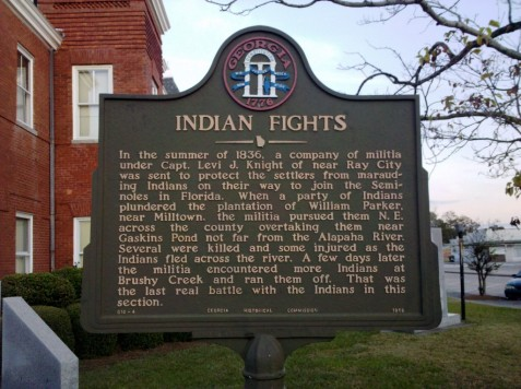 A historical marker on the lawn of the Berrien County, GA courthouse notes the last local conflict with Native Americans in 1836.