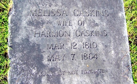 Grave of Melissa Gaskins, 1810-1864, wife of Harmon Gaskins, buried at Gaskins Cemetery, Berrien County, GA.