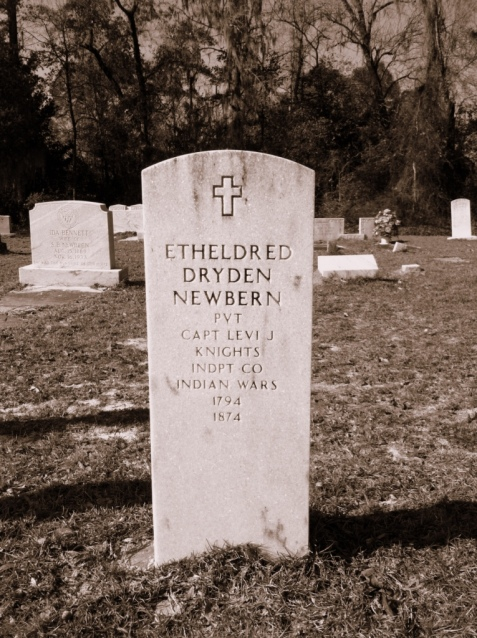 Monument for Etheldred Dryden Newbern, buried at Wayfare Church Cemetery near Statenville, GA.  Newbern was one of the pioneer settlers of Berrien County.