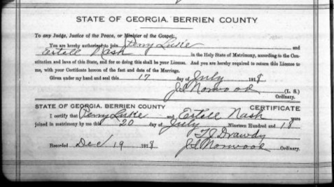 Marriage record of Estell Nash and Perry Luke, July 20, 1918 Berrien County, GA