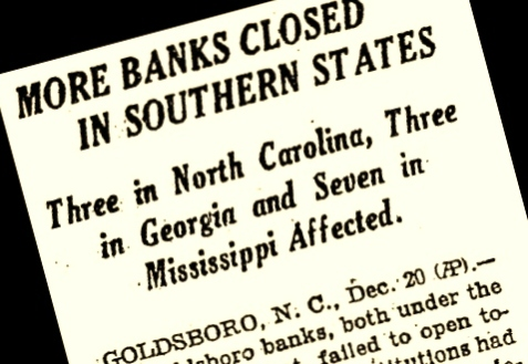 The closing of The Citizens Bank of Ray City was among those announced in December of 1930.