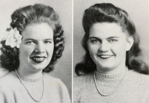 Ann Ruth Clements (L) and Frances Clement (R), of Ray City, GA. In 1943, the Clements girls were freshmen at Georgia State Womans College, Valdosta, GA (now Valdosta State University.)