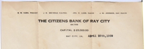 1928 Letterhead of The Citizens Bank of Ray City, GA