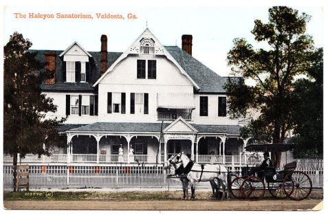 The Halcyon Sanitorium, Valdosta, GA ca. 1906.  The Halcyon, located at Troupe and Rogers Streets ,was the second hospital to open in Valdosta. Built as the home of W.B. Johnson in 1898, it was converted into a hospital by Doctor J.B.S. Holmes in 1906. In 1911 it was sold to another group of physicians and was known as Bellevue. It operated until 1915.