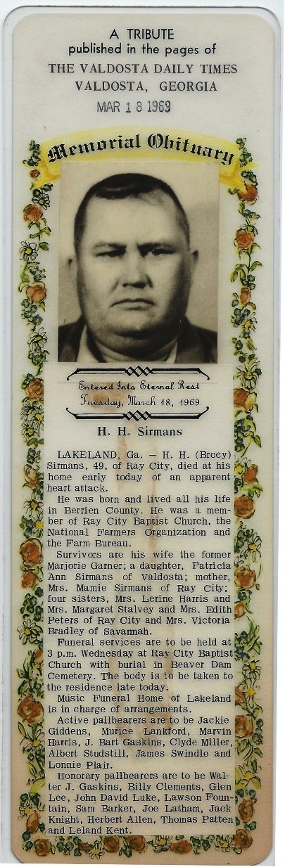 1969 Obituary of Hyman Hardeman Sirmans, Ray City, Berrien County, GA.