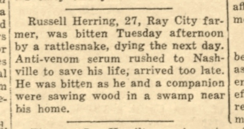 Obituary of Charles Russel Herring, killed by a rattlesnake, Ray City, GA, 1937