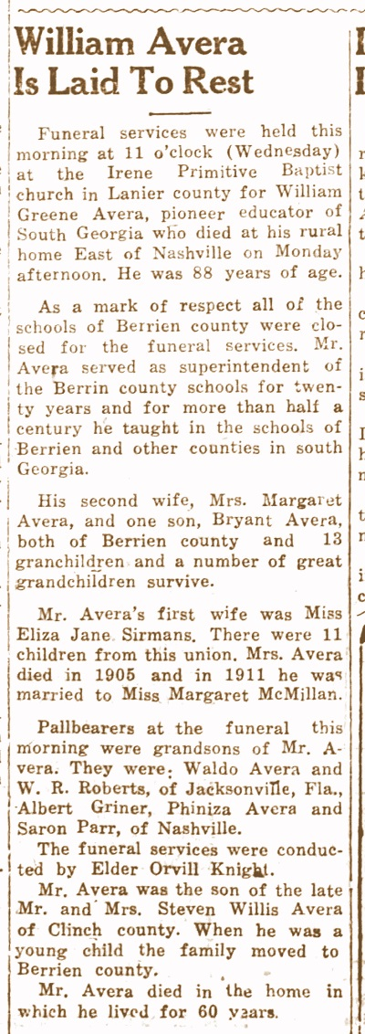 Obituary of William Green Avera, Clinch County News, Jan 14, 1944.