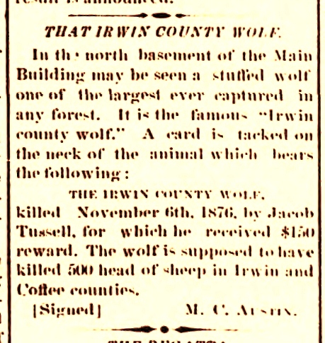 The Irwin County Wolf, 1878.