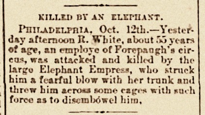 October 16, 1885 news clipping: Killed by an elephant.