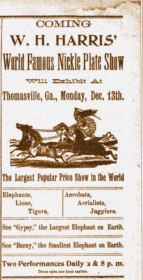 1897 Advertisement for the Nickel Plate Show and Gypsy appearance at Thomasville, GA